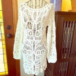 Zara Limited Edition Knit Crochet Ivory Dress Sz M